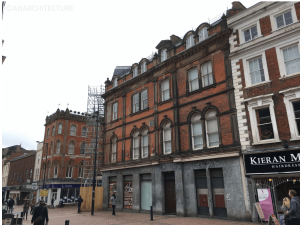 Cornmarket elevation during the repairs