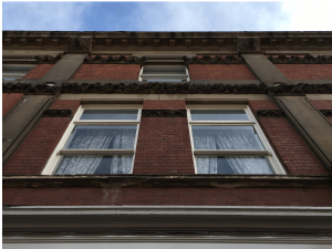 First and second floor windows