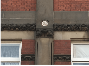 Detailing in pilasters at first floor level