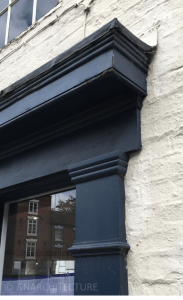 Pilaster details and fascia of corner frontage
