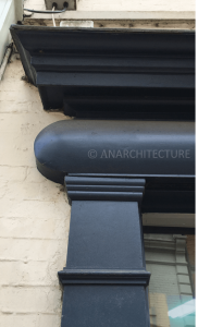 Renewed pilaster, fascia and cornice