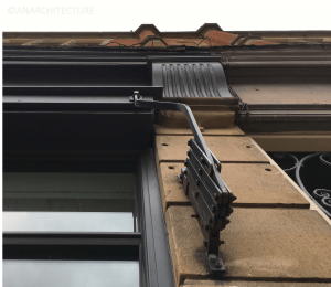 Historic awning mechanism at 59 Wardwick following conservation and repairs
