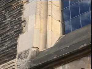 Repaired stonework around window