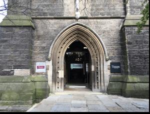 Stonework repairs around the entrance
