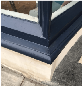 New corner post detailing and sill