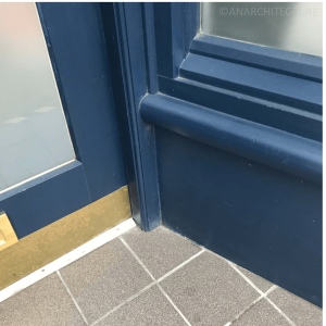 Window frame details at threshold