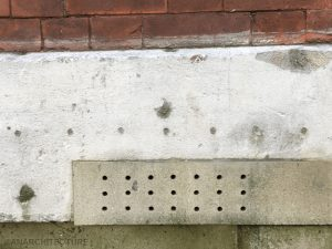 Air brick installed following removal of render