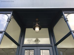 Fanlight, soffit and lamp